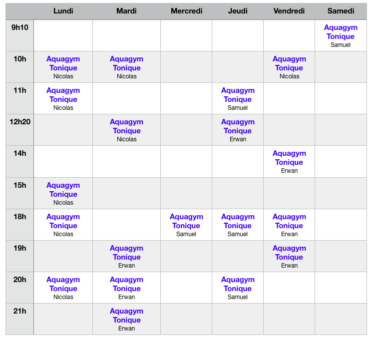 calendrier aquagym tonique